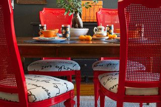 Dining Set Makeover: Paint and Tea-Tinted Fabric Make Old Chairs New @Lillie Lauer @Ryan Lauer my plan for the dining chairs....