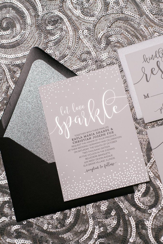 Whitney Suite Glitter Package Black And Silver Foil Wedding Invitations Letterpress Invitation In 2018 Pinterest
