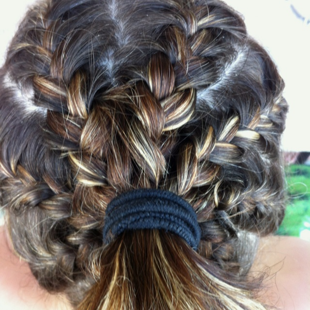 Multiple French Braids Into A Ponytail On Toni Braids
