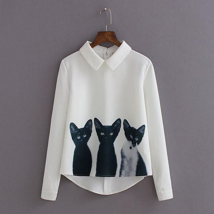 2016 New Fashion Cats Printed Pullover Shirts Long Sleeve Casual Women Korean White Blouse Hot T2 $14.05