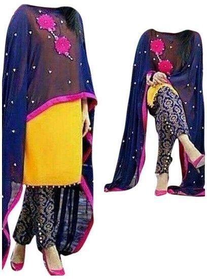 The Punjabi style Patch Work Designer Patiala Yellow Colour salwar suit