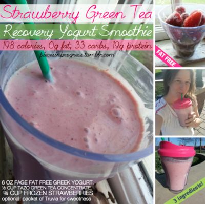 I made this Strawberry Green Tea Smoothie after my run today and it was absolutely fantastic! You can find Tazo green tea concentrate at mos...