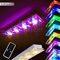 Längliche Deckenleuchte Severn Mit RGB LED Farbwechsler Aus Metall Chrom  Für Wohnzimmer   Schlafzimmer