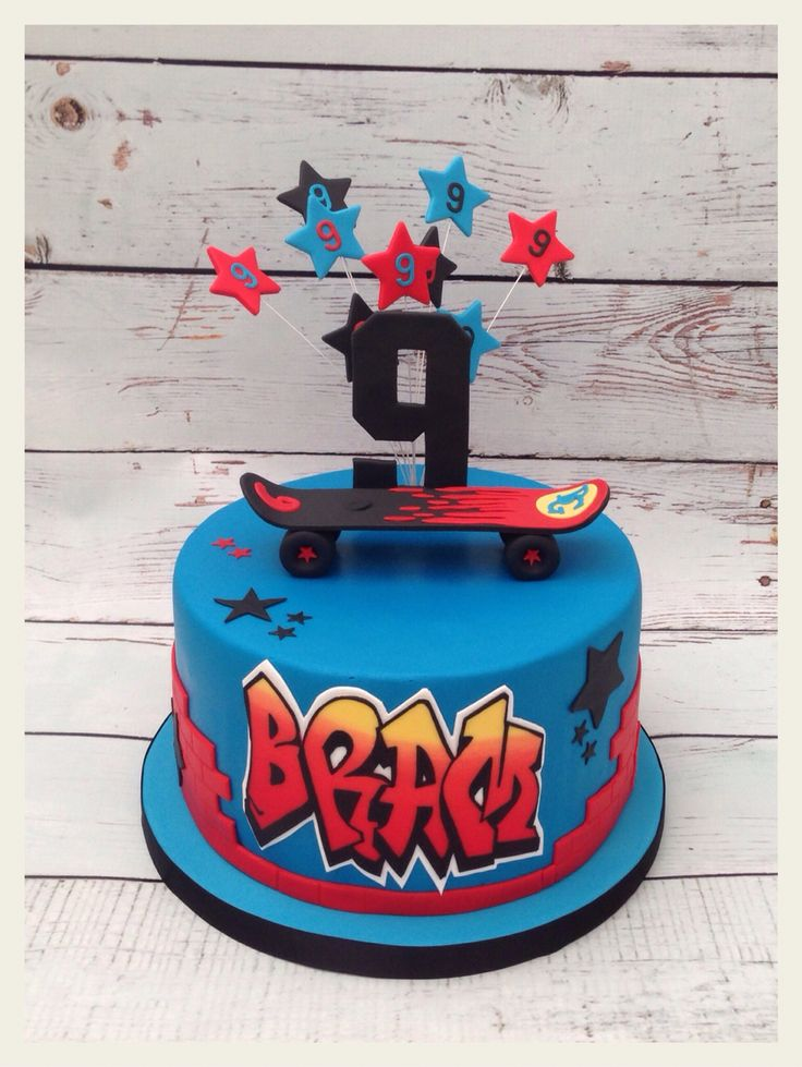 Skateboard cake with name in graffiti style.