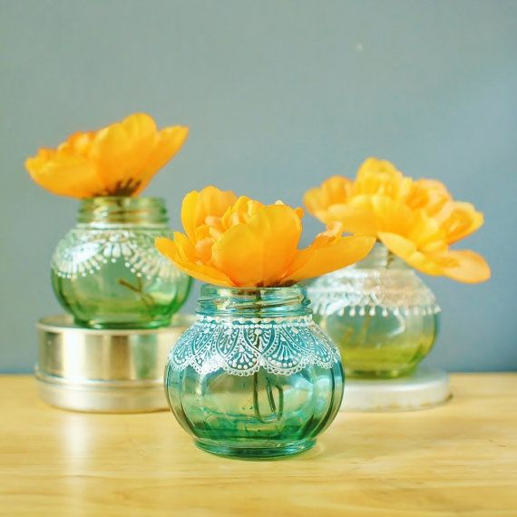Trio of Round Jar Bud Vases or Candle Holders Lightly by LITdecor, $38.00