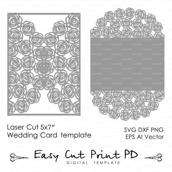 wedding invitation pattern card 5x7 template roses lace folds studio v3 svg dxf ai eps. Black Bedroom Furniture Sets. Home Design Ideas