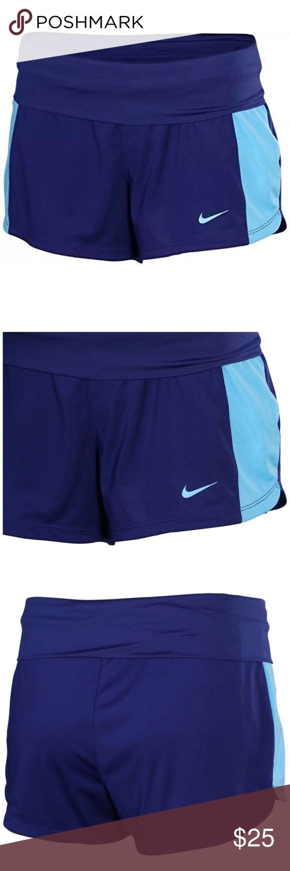 Nike Women's Dri-Fit Knit Training Shorts-Blue The Nike Knit Women's Training Shorts feature a wide, foldover waistband and stretchy, sweat-wicking fabric for support and comfort during a workout. Dri-FIT fabric to wick sweat away and help keep you dry and comfortable Wide, fold-over waistband with interior drawcord for support and personalized comfort Side insets for range of motion Interior mesh pocket ventilated, for small-item storage Nike swoosh logo on left hip Fabric: 100% polyester…