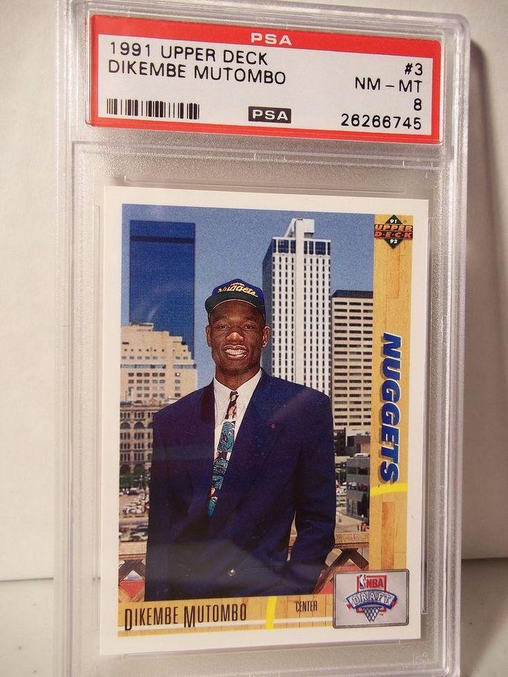 1991 Upper Deck Dikembe Mutombo Rookie PSA NM-MT 8 Basketball Card #3 NBA  #DenverNuggets