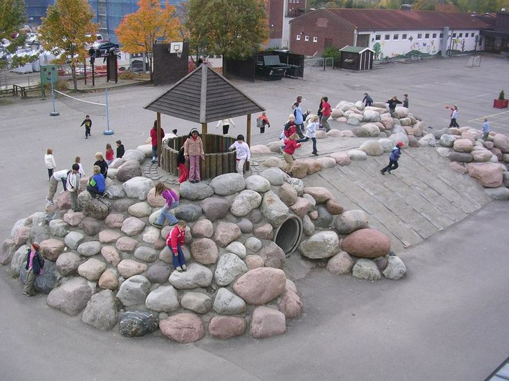 "YES, my friends! It is possible to build a MOUNTAIN in a schoolyard, - out of 360 huge boulders, fetched from a moraine. Project year 2000 - Frode Svane. Only one accident since year 2000. - one broken leg, -  just on the place we had to build some ""security"" elements: the roofs of the shelters! Without the mountain there would have been much more accidents in this schoolyard!! And now the students come exhausted and physically relaxed after every pause in the schoolyard - ready for…"