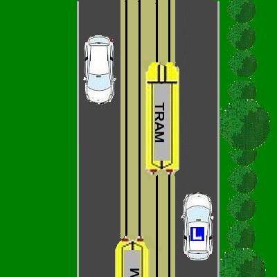 4 Mag je de tram rechts inhalen?