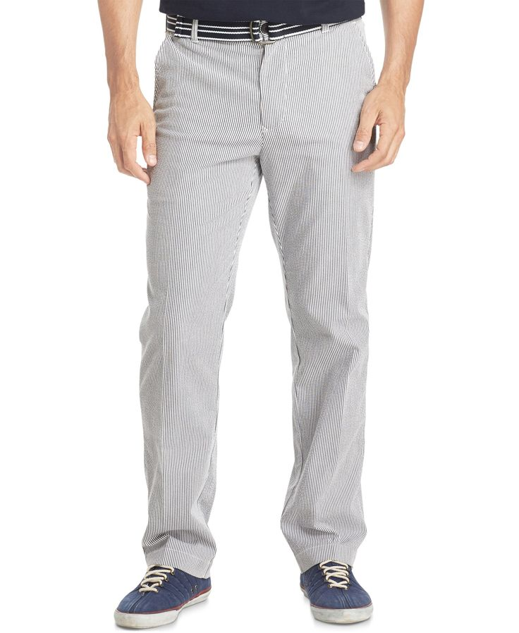 Izod Men's Belted Seersucker Pants