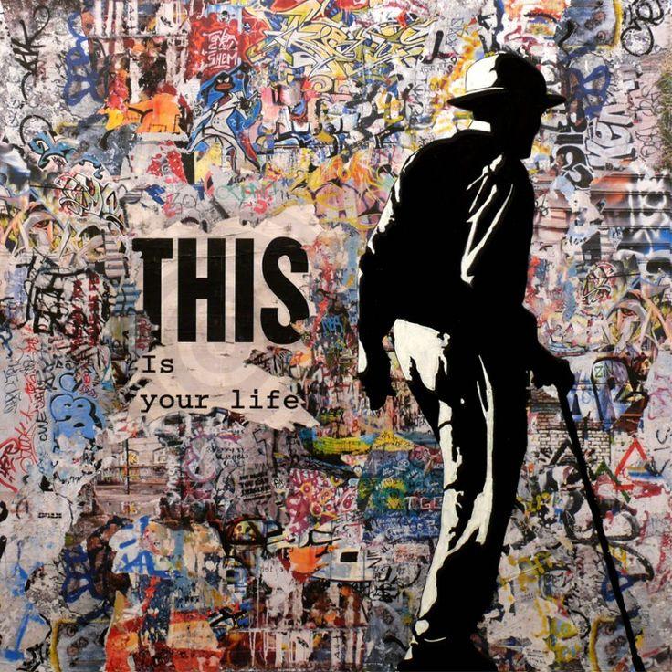 Tehos - This is your Life - Peinture,  100x2x100 cm ©2014 par TEHOS -                                                            Street Art (Art urbain), Autre, Temps, tehos, art painting, painting, collage, acrylic on canvas, collage on canvas, modern art, street art, street art painting, contemporary art, pop art, tableau tehos, art moderne, design, art contemporain, tableau art contemporain, expressio