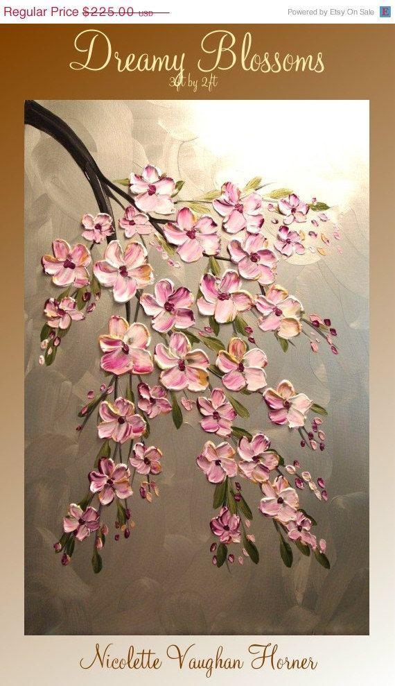 VENTA ORIGINAL grandes de 3 pies x empaste impresiones de lienzo-Contemporáneo de pintura floral abstracto moderno de 2 pies por Nicolette Vaughan Horner gratuito