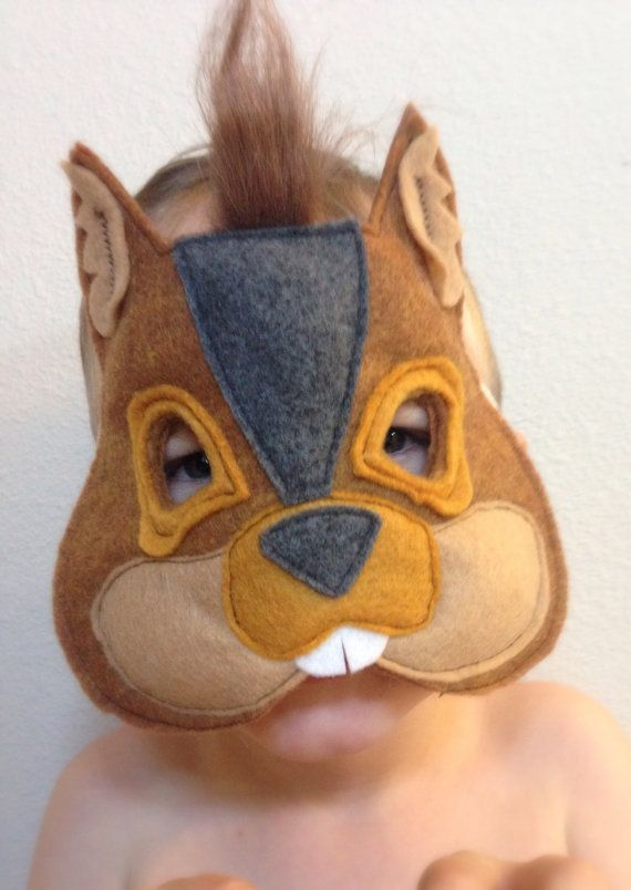 Squirrel Mask Children's Plush Felt by VioletMOTHDesigns on Etsy