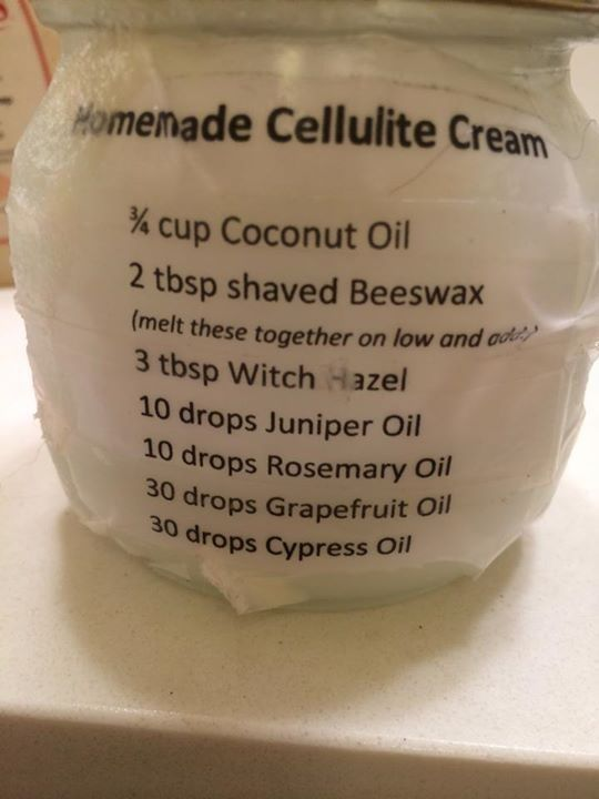 Cellulite Cream - my younger friends call this Hail damage control. Either way it's a great idea and I'm substituting beeswax for shea butter due to reactions to the bees - gees!