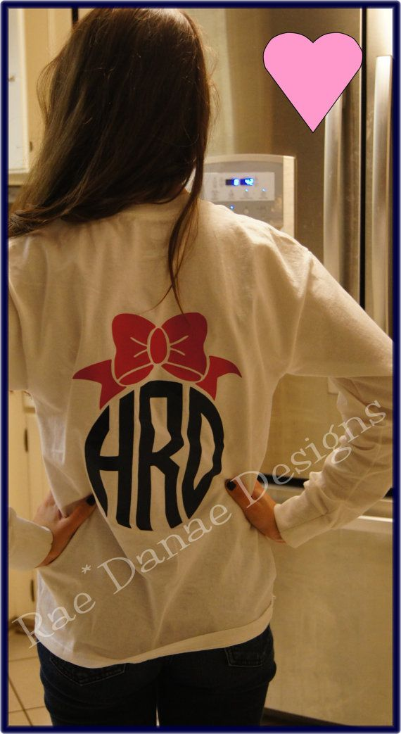 Custom Bow Monogrammed Tee Vinyl Monogram Preppy Bow You Choose Color and Style on Etsy, $30.00