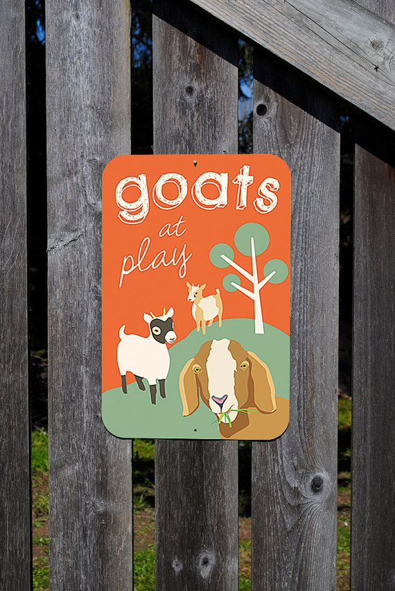 Goats at Play  Aluminum sign 12 X 18 by BainbridgeFarmGoods, $34.95
