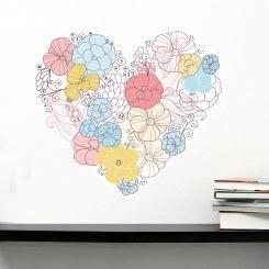 Cuore Floreale Flowers Heart Wall Sticker Adesivo da Muro