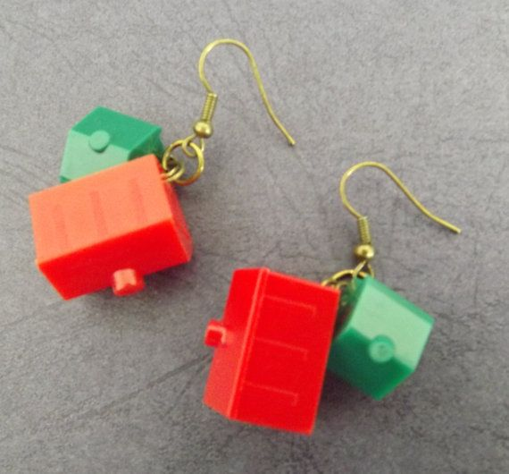 Earrings Monopoly Board Game pieces Upcycled Found Objects Tokens Brass Plate House Hotel via Etsy