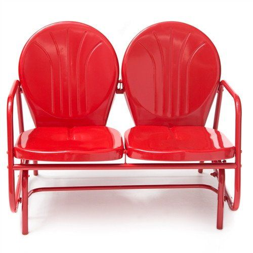 Red Modern Classic Retro Outdoor Steel Frame Loveseat Glider Bench Chairs