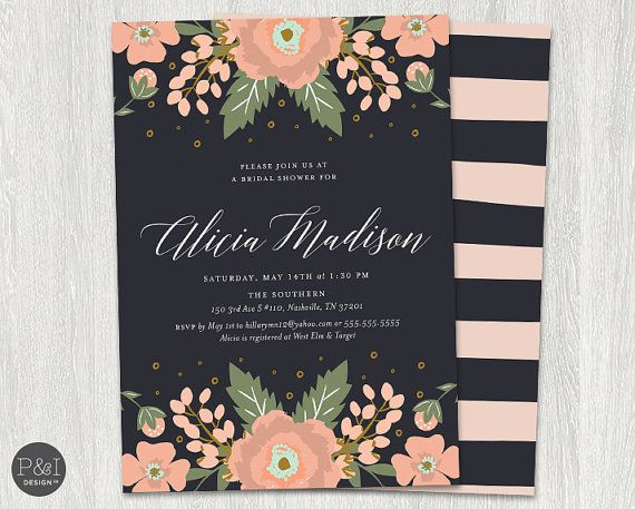 39 best bridal shower ideas images on pinterest invitations online bridal shower invitation blush pink flowers black and blush pink diy customized printable filmwisefo Images