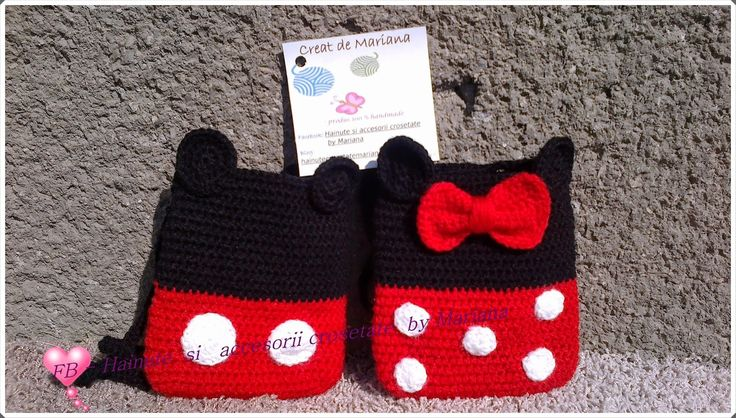 Hainute si accesorii crosetate by Mariana: Poseta Mickey si Minnie Mouse