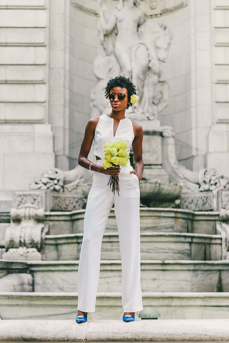 An Unusal but Cool Wedding Outfit Idea: White Jumpsuit // More Unexpected Wedding Ideas: (http://ny.racked.com/2015/6/5/8736189/casual-wedding-dresses)