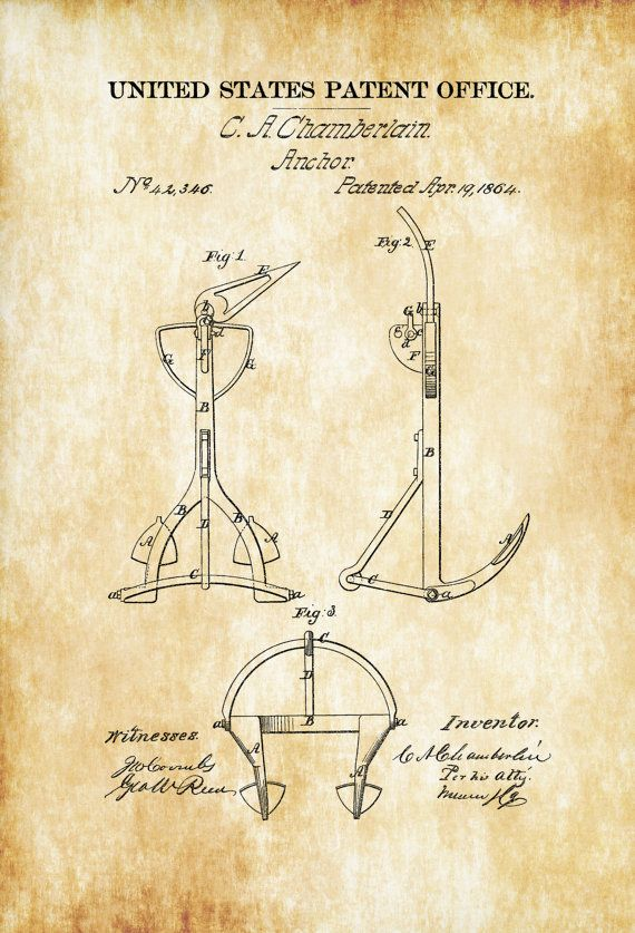 20 best gun patent prints images on pinterest guns firearms and gun old anchor patent 1864 ship anchor vintage anchor anchor blueprint naval art sailor gift nautical malvernweather Choice Image