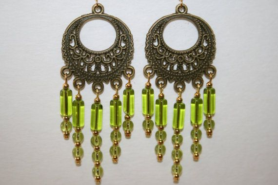 Lime Green Chandelier Earrings made with an by ClassyKittyJewelry