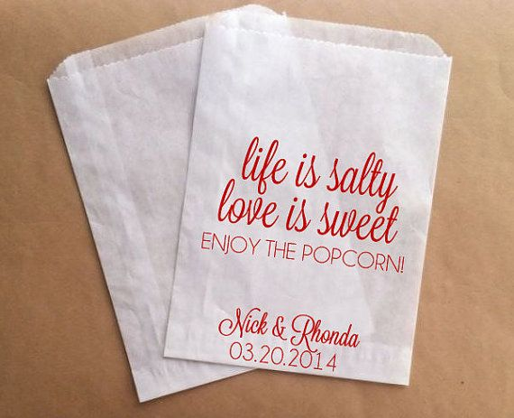 Wedding Popcorn Favor Bags Popcorn Buffet at by prettypaperparlor, $25.00