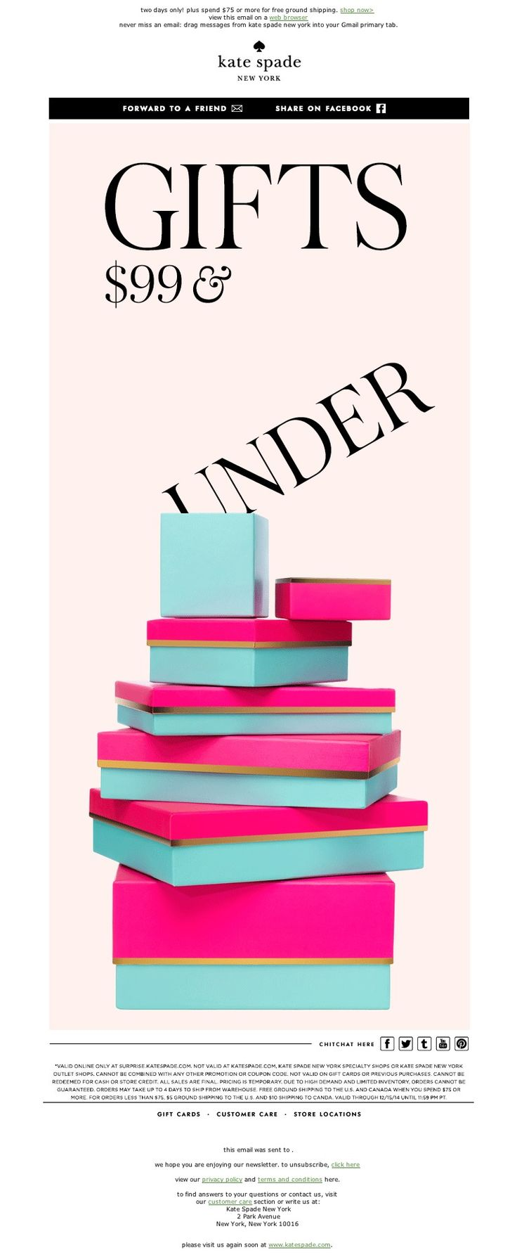 kate spade - surprise sale (gifts $99 and under) starts now...