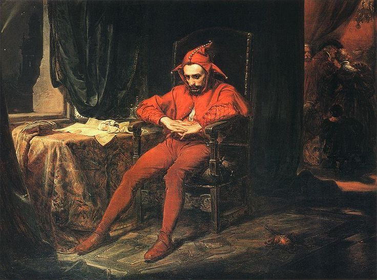 Image: Stańczyk by Jan Matejko: The jester is depicted as the only person at a royal ball who is troubled by the news that the Russians have captured Smolensk.