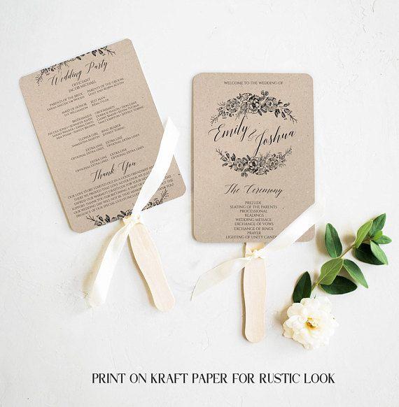 Rustic Wedding Program Fan Template, Printable #weddings #invitation @EtsyMktgTool http://etsy.me/2z9Aq4P #rusticwedding #rusticprogramfan