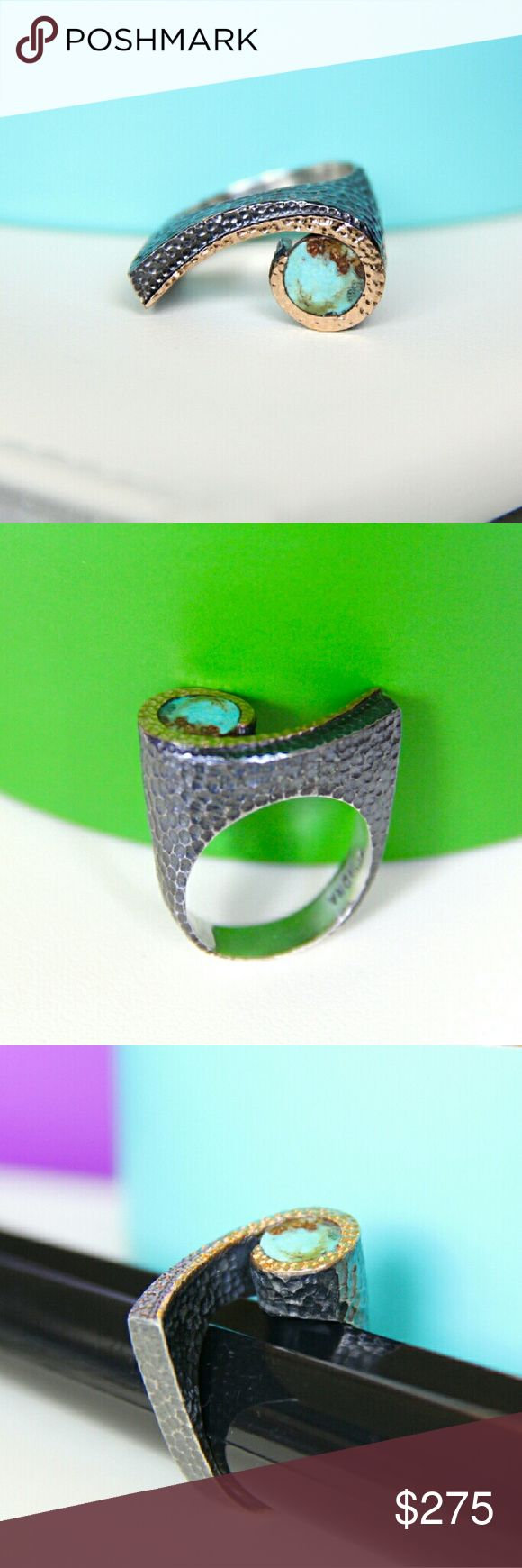 """BORA Handmade Turquoise 925 Silver & 24K Gold Ring **CHEAPER ON ETSY (Link in profile)***   Handmade by Bora.  Size: 8.5  Solid 925 silver (oxidized) with 24K accents.   Stones: Persian Turquoise.  1""""X0.75"""" - 11.95 grams.  Bora's designs are gorgeously bohemian, inspired by the Ottoman and Byzantine empires with a modern touch. Similar to Konstantino, these pieces are wearable art. And unlike Konstantino, each piece is one-of-a-kind. 100% authentic and in brand new condition. Stamped with…"""