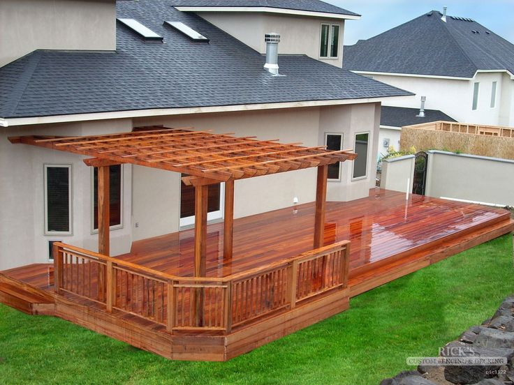 Cedar pergola cedar pergola kits rick 39 s custom fencing for Timber deck construction
