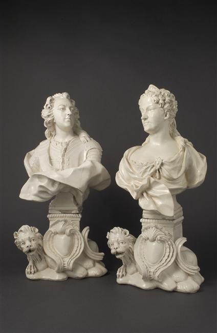Busts of Louis XV and Marie Leszczynska after Paul-Louis Cyfflé, after 1751. Kept in Sèvres, Cité de la céramique.
