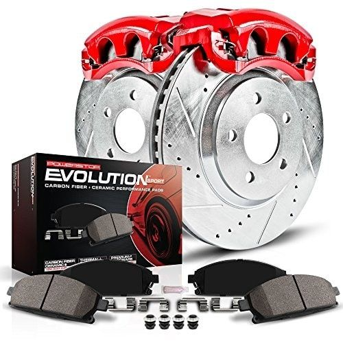 Power Stop KC3073 1-Click Performance Brake Kit with Caliper, Red