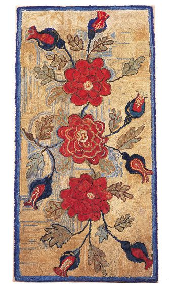 "An Extraordinary Hooked Rug, 34"" x 68"",  New England, 19th Century"