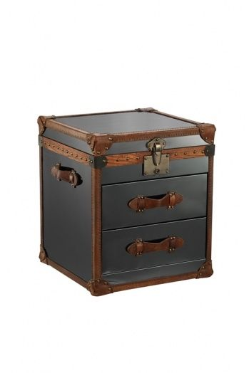2-Drawer nightstand with top lid. Full brown leather trimming on black stainless steel.