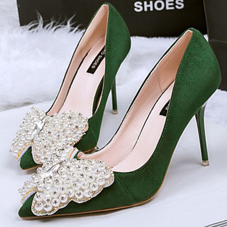 Fine with shallow mouth elegant high-heeled dance shoes/ Black/Green/Red/Gray only at NZ$56