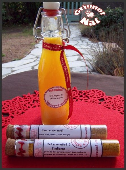 Cadeaux gourmands : vinaigre de clémentine, sucre de noël et sel à l'indienne  (Gourmet Gifts: clementines vinegar  , christmas sugar and Indian salt)