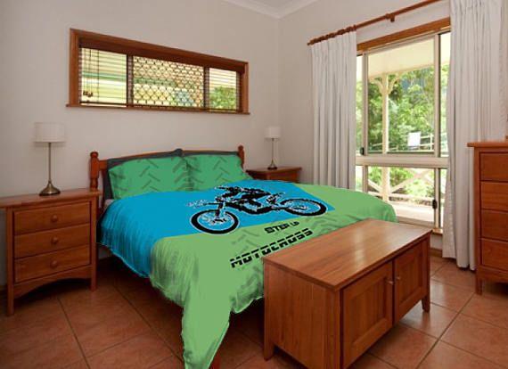 Motorcycle Bedding, Dirt bike Bedding, Motocross Bedding, Motocross Comforter, Motocross Duvet, Motocross Bedding, Green Blue, Nursery Bed