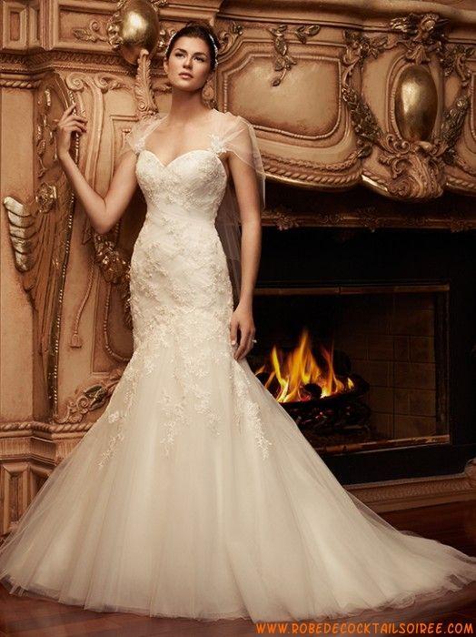 Belle robe de mariée sirène 2013 avec traîne appliques tulle