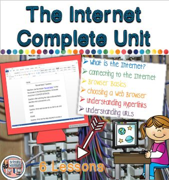 The Internet- Complete 6 lesson Unit on everything internet. Students will learn what the internet is and how it works. Ideal for computer lab teachers and media specialists, but also great for an upper elementary or middle school classroom teacher who wants to tackle this subject. $