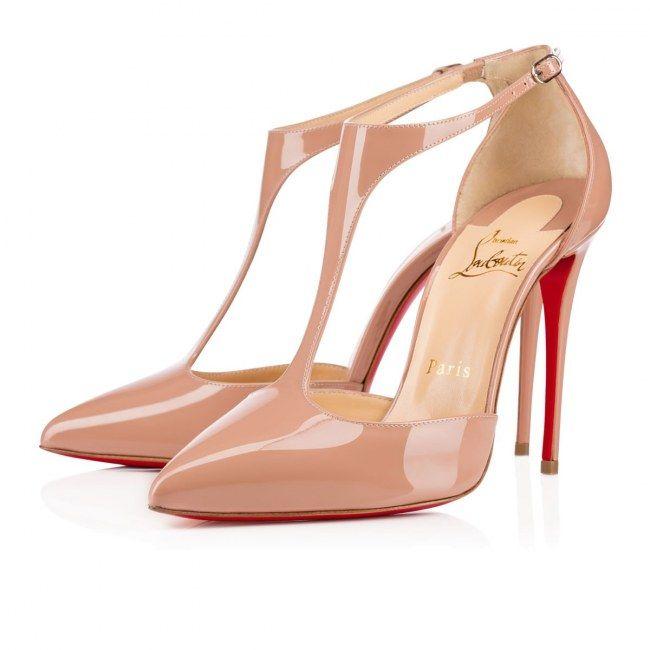 Salomé (escarpins à brides) beige vernis Louboutin, de parfaites chaussures de mariée par ex.