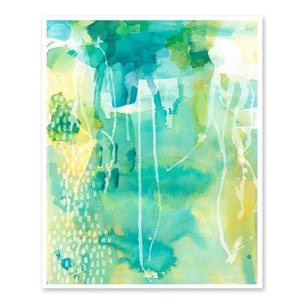 Lakeside abstract watercolour art print