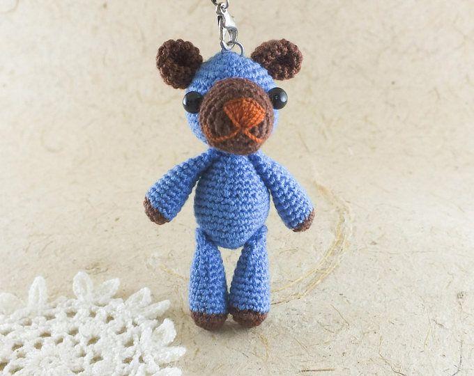 Blue bear Crochet Doll / Amigurumi / Cell phone Charm / Phone hanging