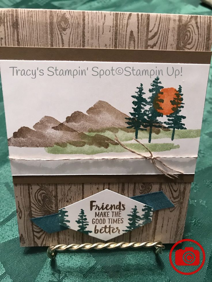 Waterfront stamp set from Stampin' Up! 2018 occasions catalog, Hardwood stamp, tranquil tide ink and ribbon.