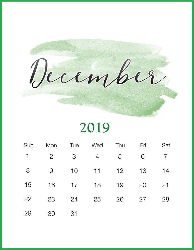 Watercolor 2019 December Printable Calendar Dezember