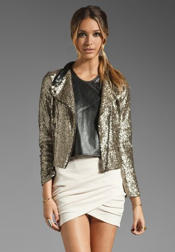 Add some tights and maybe some purple booties and that's a hot fall night on the town! Glittery Find: Lovers + Friends Wish Jacket  #pintowin